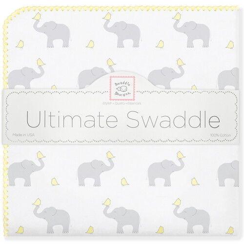 Фланелевая пеленка для новорожденного SwaddleDesigns PY Elephants/Chicks