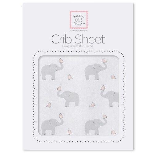 Простынь детская SwaddleDesigns Fitted Crib Sheet PP Elephant & Chickie