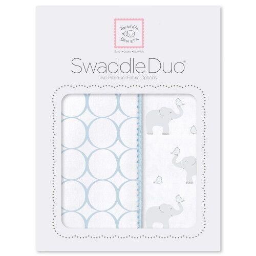 Набор пеленок SwaddleDesigns Swaddle Duo PB Elephant & Chickies Mod Duo