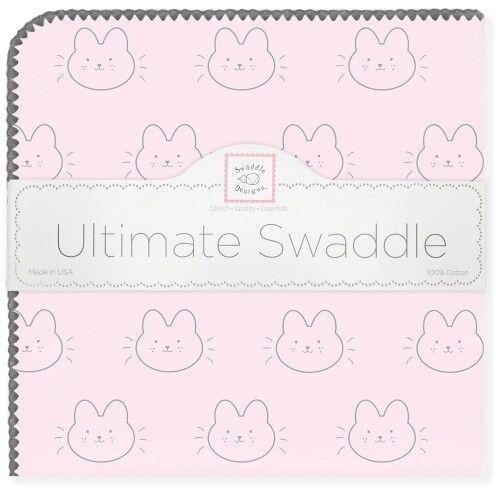 Пеленка фланель для новорожденного SwaddleDesigns Ultimate Bonjour Bunnie Pstl Pink