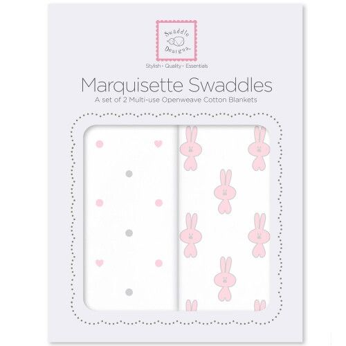 Наборы пеленок Marquisette 2-Pack Pstl Pink Little Bunnie & Dottie Heart
