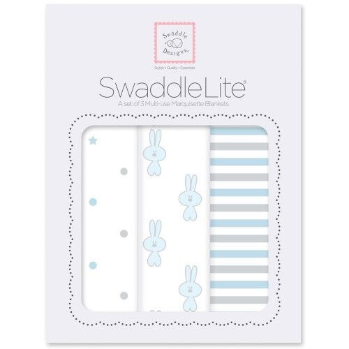 Набор пеленок SwaddleDesigns SwaddleLite Pstl Blue Little Bunnie
