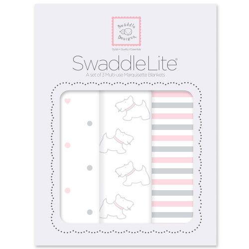 Набор пеленок SwaddleDesigns SwaddleLite Pstl Pink Little Doggie