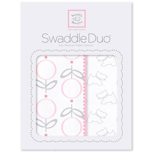 Набор пеленок SwaddleDesigns Swaddle Duo Pink Little Doggie