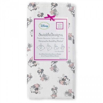 Пеленка детская тонкая SwaddleDesigns Маркизет Pink/Gray Minnie