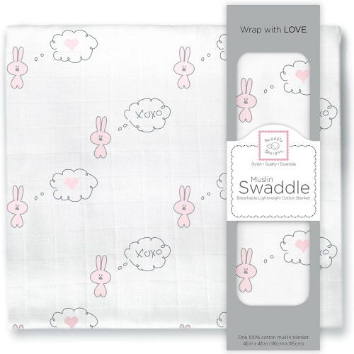 Пеленка муслиновая SwaddleDesigns Pstl Pink Bunnie Heart