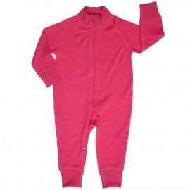 Комбинезон из шерсти мериноса на молнии ярко-розовый (размер 3-6 мес)