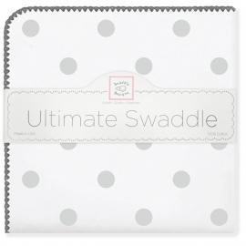 Пеленка фланель для новорожденного SwaddleDesigns Ultimate Big Dots Sterling