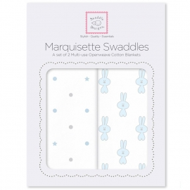 Наборы пеленок Marquisette 2-Pack Pstl Blue Little Bunnie & Dottie Star