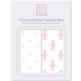Наборы пеленок Marquisette 2-Pack Pstl Pink Little Bunnie & Dottie Heart