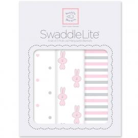 Набор пеленок SwaddleDesigns SwaddleLite Pstl Pink Little Bunnie