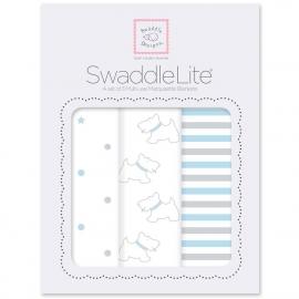 Набор пеленок SwaddleDesigns SwaddleLite Pstl Blue Little Doggie