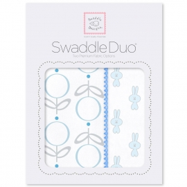 Набор пеленок SwaddleDesigns Swaddle Duo Blue Little Bunnie