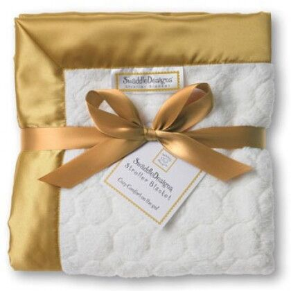 Плед детский SwaddleDesigns Stroller Blanket Ivory Puff w/Gold