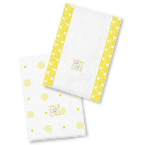 Полотенчики SwaddleDesigns Baby Burpie Set Yellow Big Dot Little Dot